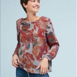 Anthropologie T.la gray floral sweatshirt small